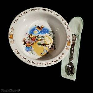Avon Child's Bowl Spoon Set 1984 NOS Hey Diddle Diddle Cat Fiddle Cow Rhyme