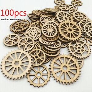 100 X Gear Wooden Scrapbooking Wood Pieces Slices Unfinished DIY Craft Round Oak