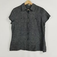 Sportscraft Women Size 14 Charcoal Thin Check Collared Shirt Short Sleeves Linen