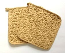 Great Finds HONEY Quilted Cotton Pot Holders Set of 2 Solid Honey-Yellow