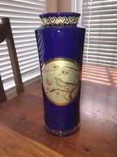 "24k Gold Edged Colbalt Blue Vase The Art of Chokin Japan 11"" Tall (CT)"