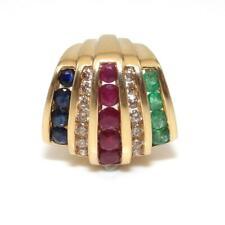 Alwand Vahan 14K Yellow Gold Natural Emerald Ruby Sapphire Diamond Pendant