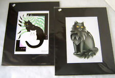 Cat Prints by Darlene Emerick - signed and matted / Lot of 2 Prints