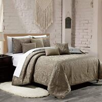 7 Piece Luxury Quilted Embroidered Comforter Set Bed In A Bag,Queen Size, Taupe
