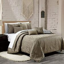7 Piece Luxury Quilted Embroidered Comforter Set Bed In A Bag,King Size, Taupe