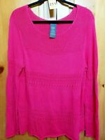Chelsea and Theodore Womens Size XL Pullover Sweater Open Knit Pink Long Sleeve