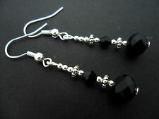 A PAIR OF BLACK   CRYSTAL  SILVER PLATED  DROP DANGLY  EARRINGS.