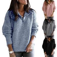 Women Zip Up Long Sleeve Sweater Warm Fleece Fluffy Casual Jumper Tops Plus Size