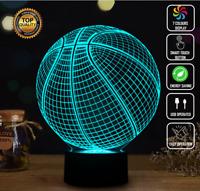 BASKETBALL NBA SPORTS 3D Acrylic LED 7 Colour Night Light Touch Table Lamp XMAS