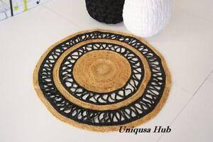 Jute Round Rug Natural Handmade Braided Style Reversible Hemp Carpet Modern Rug