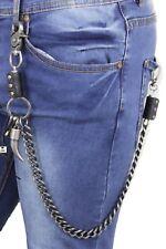 Men Silver Metal Wallet Chunky Chain Links Skull KeyChain Biker Long Horn Bull