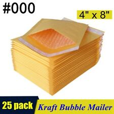25pcs 000 4x8 Kraft Bubble Mailers Padded Self Seal Shipping Bags Envelopes