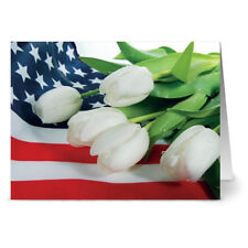24 Memorial Day Note Cards - White Tulip Tribute - Red Envs