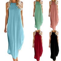 Women's Strappy Loose Side Slit Maxi Dress Halter Neck Holiday Casual Long Dress