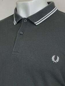 Fred Perry   Twin Tipped M3600 Pique Polo Shirt XXL (Grey) Mod 60's Scooter Ska