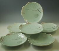 MID CENTURY SET OF 6 FISH SHAPED PLATES MINT GREEN GOLD WHIMSY MADE IN JAPAN