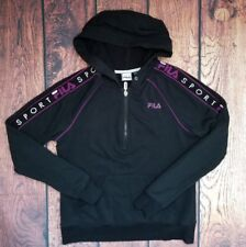 Vintage Fila Sport Womens 1/2 Zip Hoodie sz M black purple 90's 80's spell out