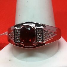 Garnet Mozambique Ring (Sz12) TGW 2.05cts Stainless Steel Band