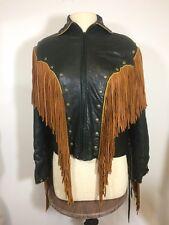 Vintage Outlaw Western Fringe Jacket Black And Brown