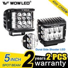 "2x 5"" 45W LED Cube Work Lights OffRoad Spot Flood Driving Side Shooter Fog Bar"