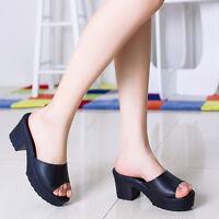 Women Fashion Wedges Flip Flop Sandals Stylish High Heel Leather Platform Shoes