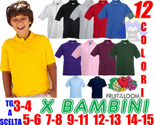 POLO Bambino FRUIT OF THE LOOM Bottoni BIMBO Manica Corta T-SHIRT Junior SCUOLA