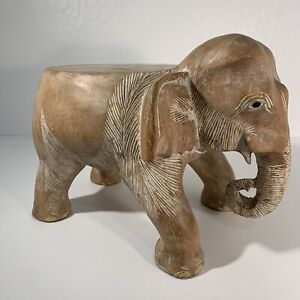 HAND CARVED WOODEN ELEPHANT STOOL / PLANT STAND SIDE TABLE HARDWOOD