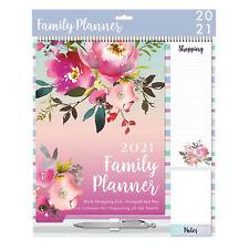 2021 Family Organiser Calendar - Shopping List, Memo Pad and Pen - Flowers