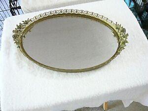 "Vtg Antique Brass Filigree 10 Roses Edge Oval Mirror Vanity Tray, 15""x 9 3/4"""
