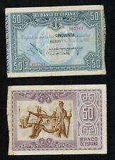 GUERRA CIVIL. 50 Pesetas año 1937 Bilbao. Nº 307761. Caja Ahorros de BILBAO.