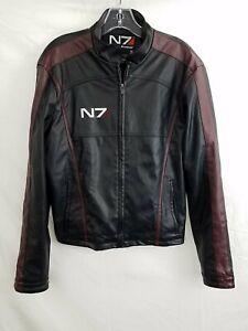 Bioware Unisex Black / Red Faux Leather Zip Mass Effect N7 Jacket Size S