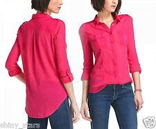 Anthropologie Stratus Buttondown Summer Top 12 Large Pink Bright Gauzy Shirt NWT