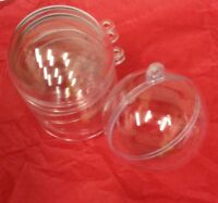 10 x 6cm Clear Plastic 2 part Christmas Baubles 6cm -birthday,Easter craft ball