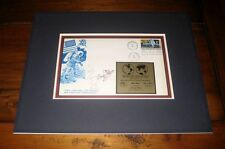 NEIL ARMSTRONG & APOLLO 11 CREW-SIGNED FIRST-DAY ENVELOPE WITH METAL PLAQUE PSA