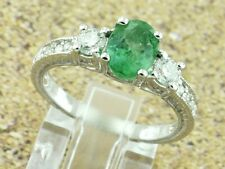 14k Solid White Gold Natural Diamond & Oval Emerald Ring 1.90 ct size 5 to 8