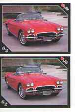 1962 Chevy Corvette Baseball Card Sized Cards - lot of 2 - Must See !!