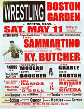 Pro Wrestling Poster Bruno Sammartino Eduardo Carpentier KY Vintage 13 x 19