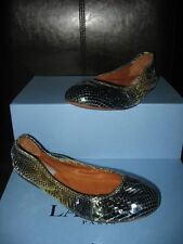 Lanvin Paris Python Ballet Ballerina Flat Shoes Gold Metallic 37.5 EU $1030