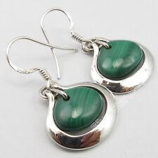 "Heart French Hook Earrings 1.3"" New .925 Solid Silver Green Malachite Stone"