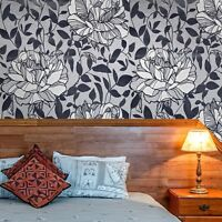 Wallpaper gray silver Metallic Flocking Velvet flocked Textured floral flowers