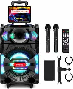 Karaoke Machine Euterpy Portable PA System Bluetooth Speaker with 10'' Subwoofer