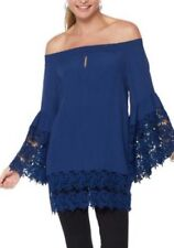 NEW Colleen Lopez HSN Plus Romantic Holiday Navy Off Shoulder Lace Blouse 2X