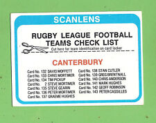 1979  CANTERBURY BULLDOGS  SCANLENS RUGBY LEAGUE CHECKLIST CARD - UNMARKED