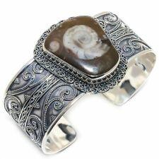 Petrified Ammonite Fossil Vintage 925 Sterling Silver Cuff Bracelet Adjustable