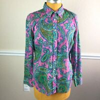 Talbots Womens Top Button Front Colorful Paisley Long Sleeve Cotton Size M