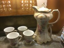Beautiful Vintage 6-Pc RS Germany Hand Painted Chocolate Pot And Cup Set