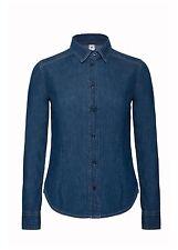 Damen Jeanshemd Langarm von B&C Hemd tailliert Baumwolle XS S M L XL XXL