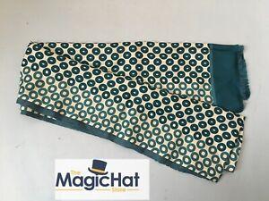 Jigsaw Marlow Scarf Cravat Silk Cotton Mix Made in Italy Polka Dot Green Mod