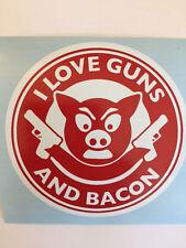 I Love Guns And Bacon Car Bumper Sticker Vinyl Decal Funny Pig JDM AR15