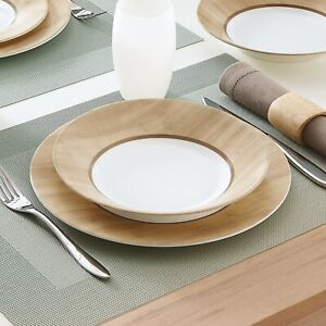 Luminarc Alpaga 18 piece Opal Glass Dinner Set Wood Design Dinnerware Tableware